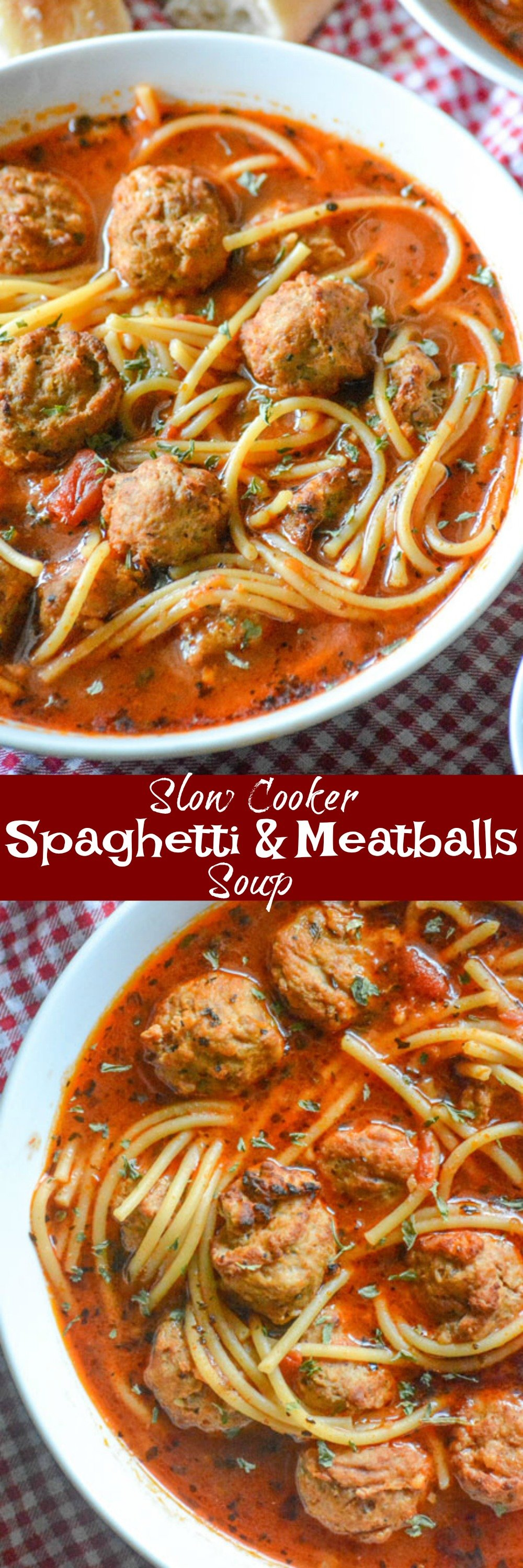 This Slow Cooker Spaghetti & Meatballs Soup turns a simple family favorite into savory Italian American comfort soup. Serve it with crusty bread and extra Parmesan for an easy dinner any night of the week!