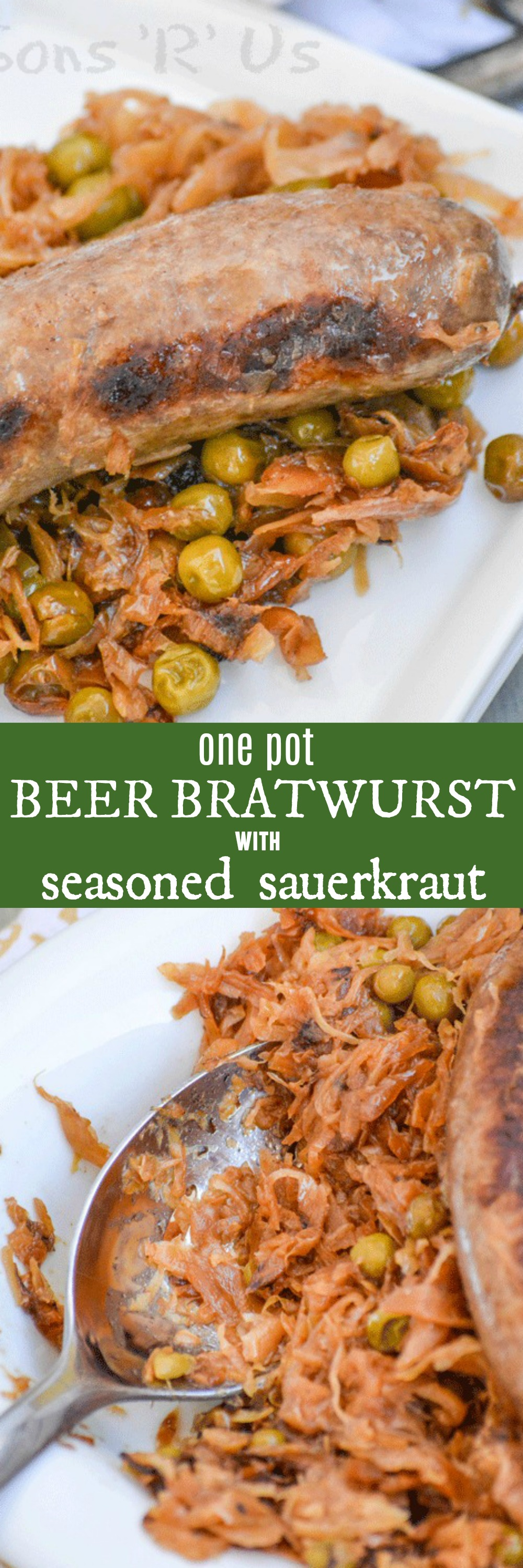 Beer Bratwurst with Caramelized Sauerkraut is a quick and easy, one dish dinner that is pure comfort food for any occasion. Shared with friends, made as a quick family meal- however you choose to serve & enjoy it, you can't go wrong.