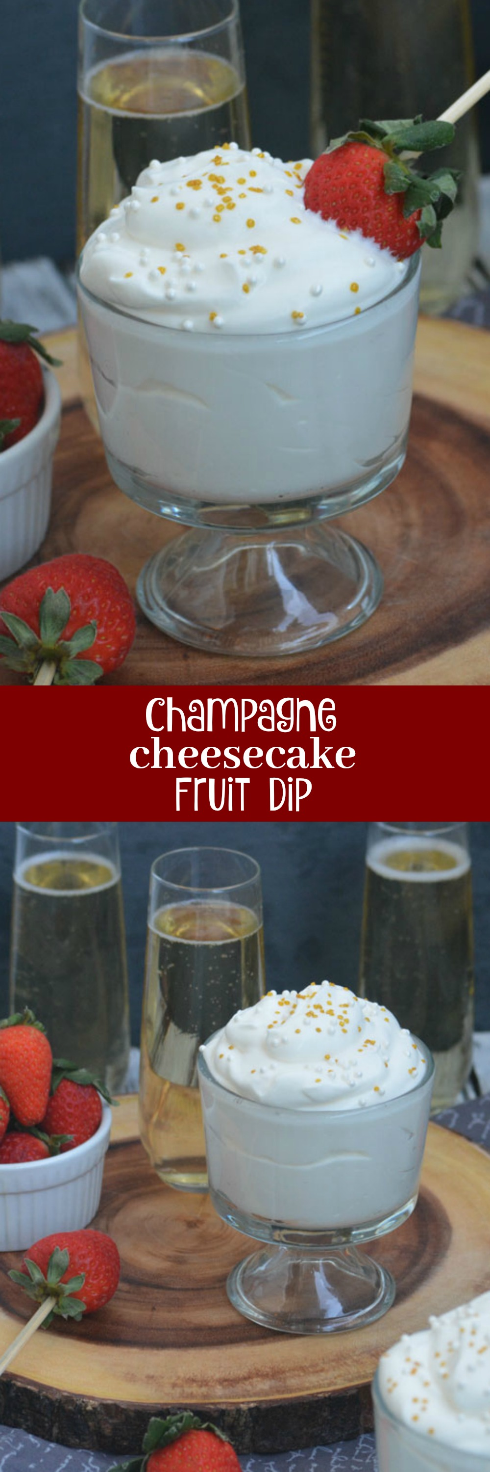 Party season is in full swing. Don't let your menu miss out- this Champagne Cheesecake Fruit Dip begs to be on the nice list. It's also a perfect way to ring in the New Year- in boozy dessert form you can feel less bad about, since it's paired with your favorite fruits.
