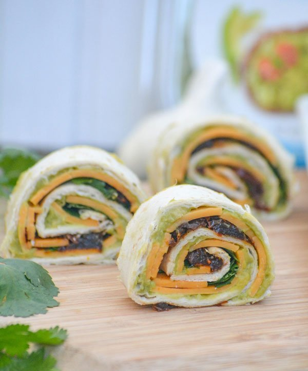 Chipotle Cheddar Garlic Herb Avocado Pinwheels