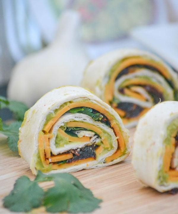 Chipotle Cheddar Garlic Herb Avocado Pinwheels