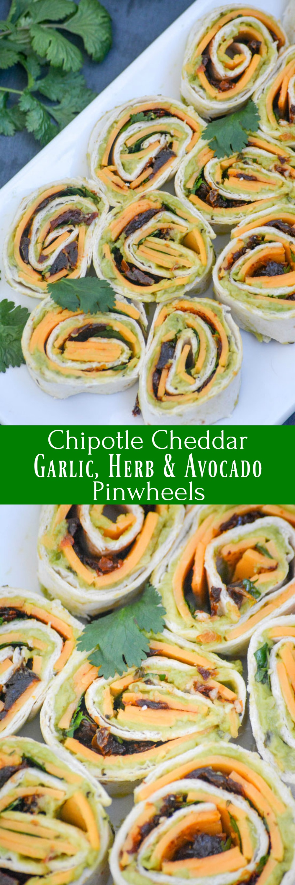 Chipotle Cheddar Garlic Herb Avocado Pinwheels are quick, easy, and scrumptious finger food that's full of flavor. Knowing they can be made ahead of time, or at the last minute, makes them a great option for an appetizer, snack, or even as part of the main meal when you've got hungry guests to feed.