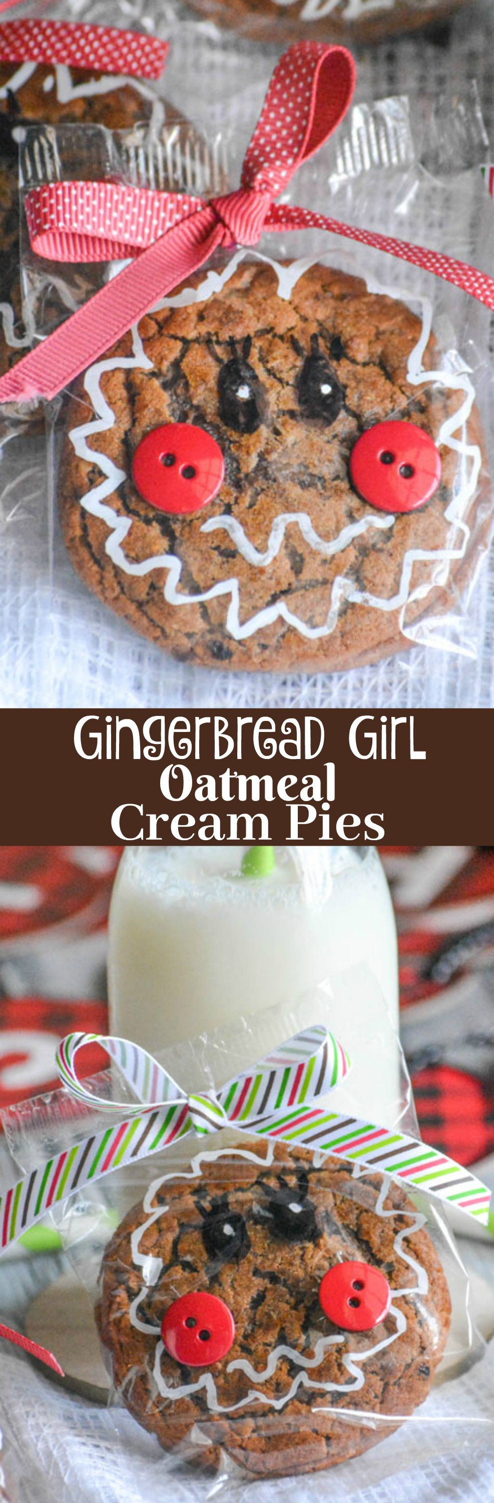 A great way to show friends & family you care during the holidays is with hand made gifts, these Gingerbread Girl Packaged Oatmeal Cream Pies are perfect for kids. They're a fun, easy craft that looks adorable and anyone would be proud to give.