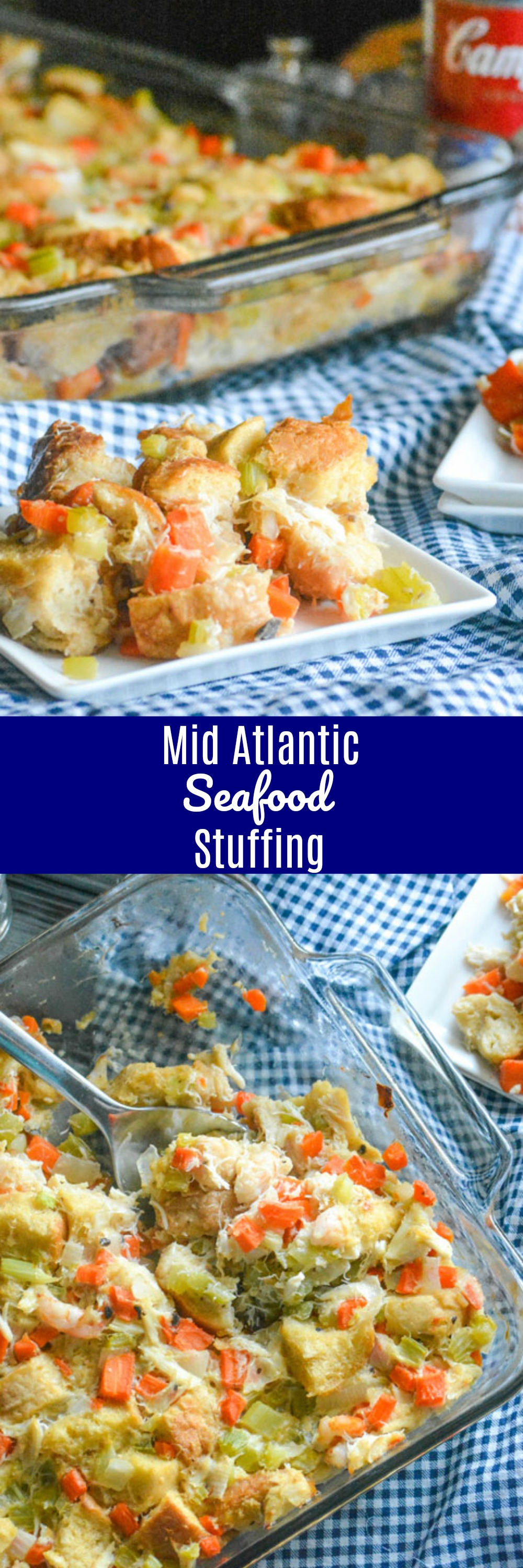 While I adore my Grandma's tried and true stuffing, sometimes I need a little something new around the holidays. This Mid-Atlantic Seafood Stuffing is a fun new twist to the traditional side dish, infused with a heaping helping of regional seafood favorites, like shrimp and lump crab.