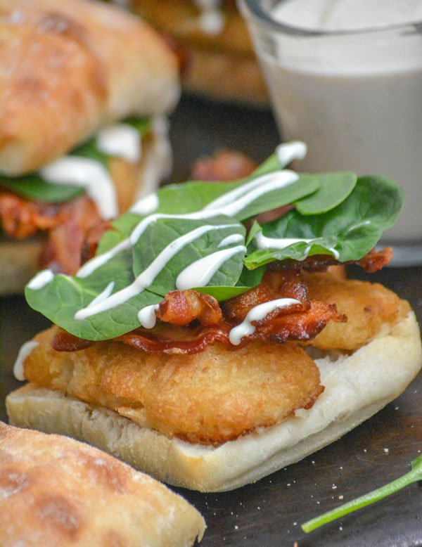 Bacon Alfredo Spinach Beer Battered Fish Fillet Sandwiches