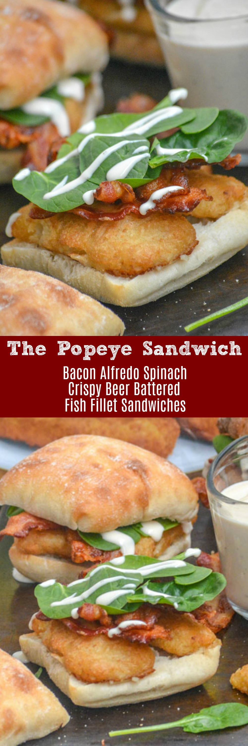 These Bacon Alfredo Spinach Beer Battered Fish Fillet Sandwiches, or Popeye Sandwiches as my kids call them, are perfect for Lent. They're a quick and easy lunch, or dinner, perfect for a filling meal and a fun way to get some greens into your family's diet.