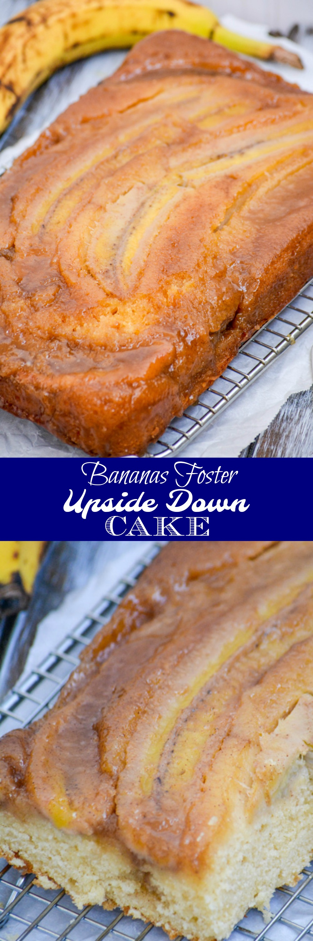 What are your dessert dreams made of? Mine are everything this Bananas Foster Upside Down Sheet Cake offers: boozy, caramelized, fruit filled, with a moist, spongy cake casing in a gorgeous presentation- that I can enjoy for breakfast OR dessert. Talk about options!