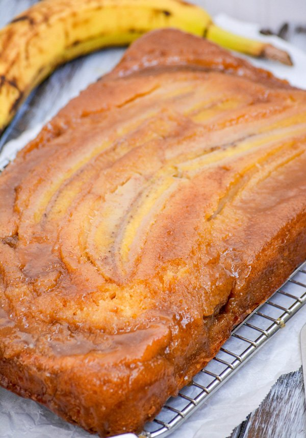 Bananas Foster Upside Down Sheet Cake