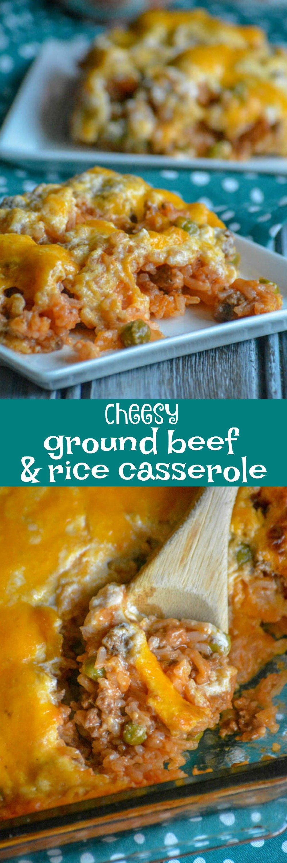 A perfect, quick & easy weeknight meal, comfort food like this flavorful Cheesy Ground Beef And Rice Casserole is studded with kid friendly veggies and a creamy cheesy topping, making it a dinner kids will love and the answer to many a busy parent's prayers.