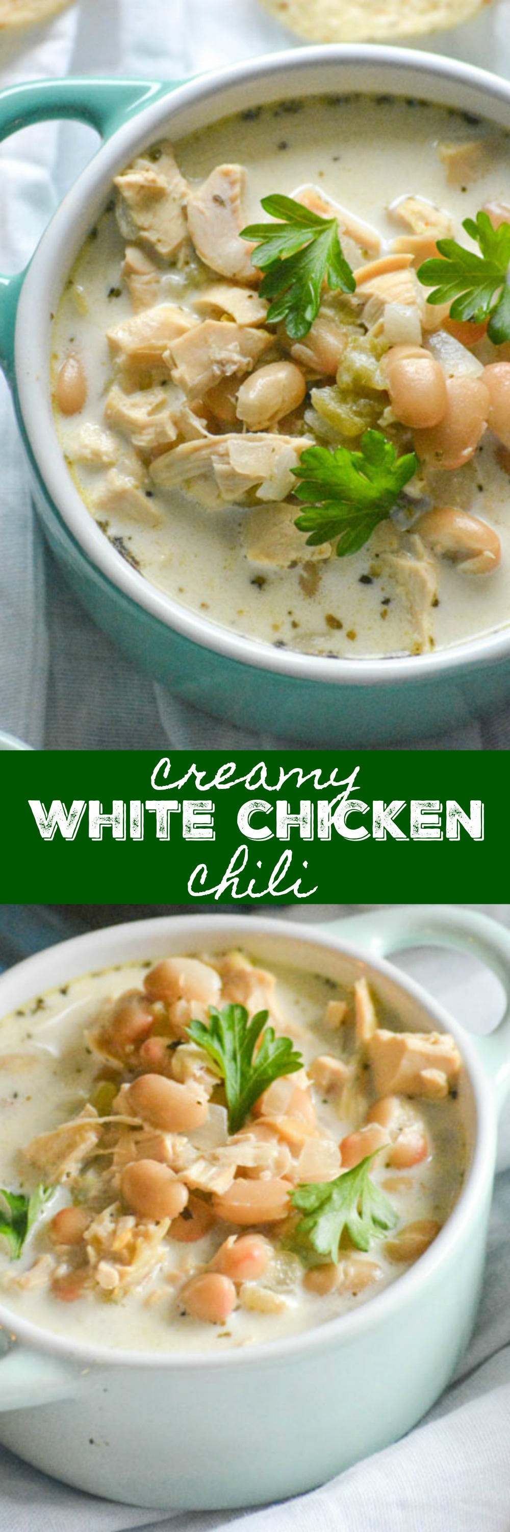 Creamy White Chicken Chili This isn't your Dad's game day chili. Our Creamy White Chicken Chili has a rich, creamy broth studded with chunks of rotisserie chicken, corn, and green chilies seasoned with a zesty blend of savory spices. It's pure comfort food, and fits the bill for just about any occasion. 4 Sons 'R' Us