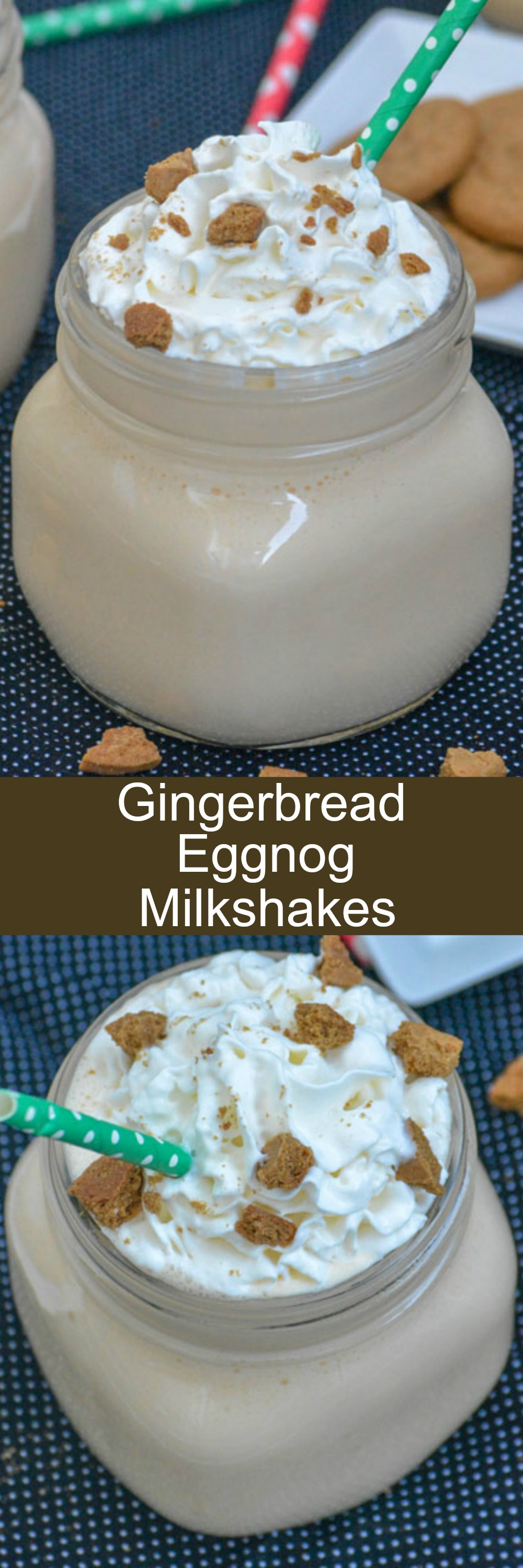 A creamy, dreamy dessert- these Gingerbread Eggnog Milkshakes are the most delicious way to close out this year's holiday season. A smooth mixture of rich eggnog, gingersnaps, and velvety vanilla ice cream- it's a simple treat that's quick and easy to whip up, but full of flavor.