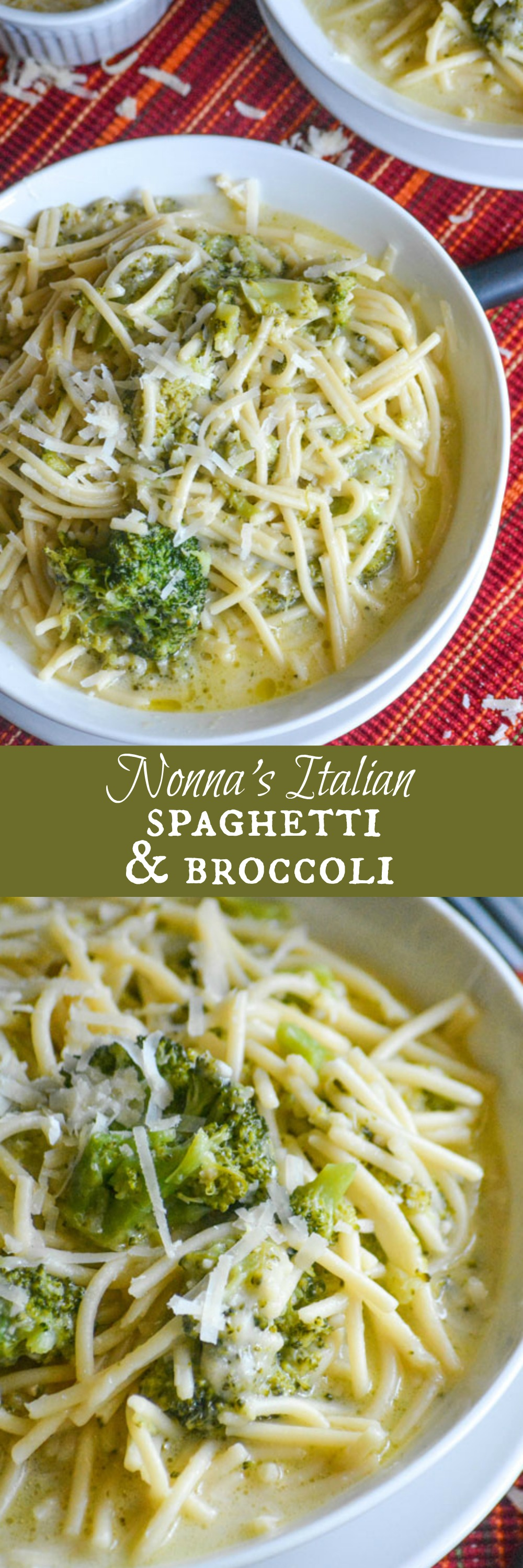Nothing was better growing up than cheesy Italian American comfort food straight from Nonna's kitchen. Keep those memories alive with a big batch of Nonna's Italian Spaghetti & Broccoli- a quick & easy, one dish, vegetarian pasta dinner.