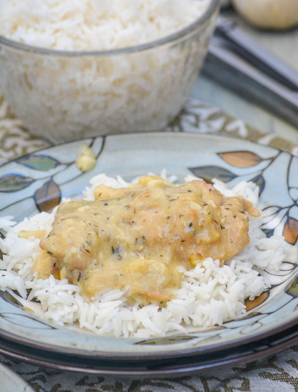 Rustic Pan Seared Chicken Thighs with Garlic Gravy