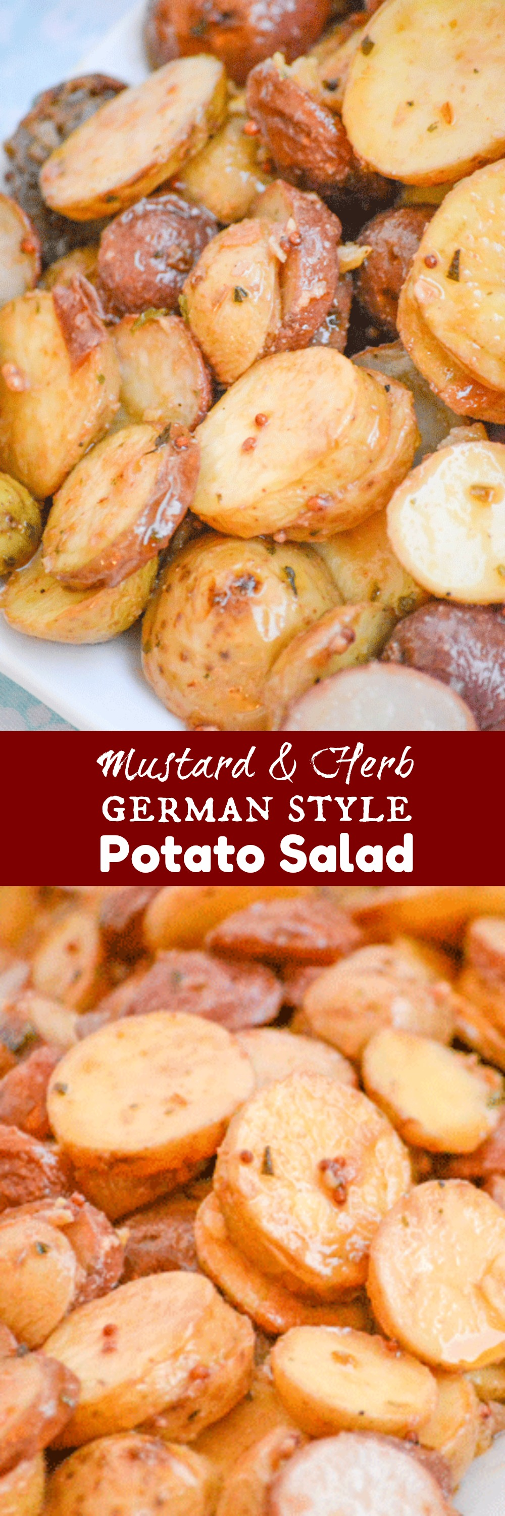 Potato salad is a Southern staple, but just like your wardrobe- it's a dish that needs to up updated for the season. This Warm Mustard & Herb German Style Potato Salad is a cold weather 'must-have', seasonal side dish.