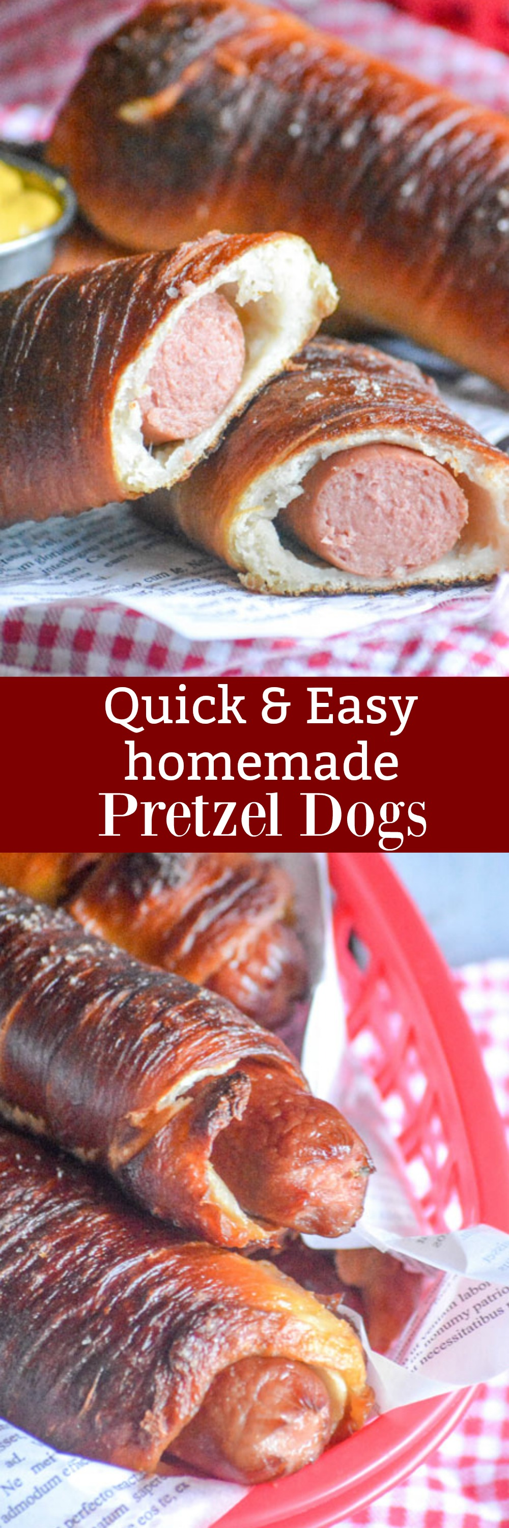 These Quick & Easy Homemade Pretzel Dogs are simply delish. Your favorite hot dogs are bundled up in buttery salted pretzel buns, making them a portable, dippable fun finger food perfect for game day appetizers, lunches, and even a hearty snack.