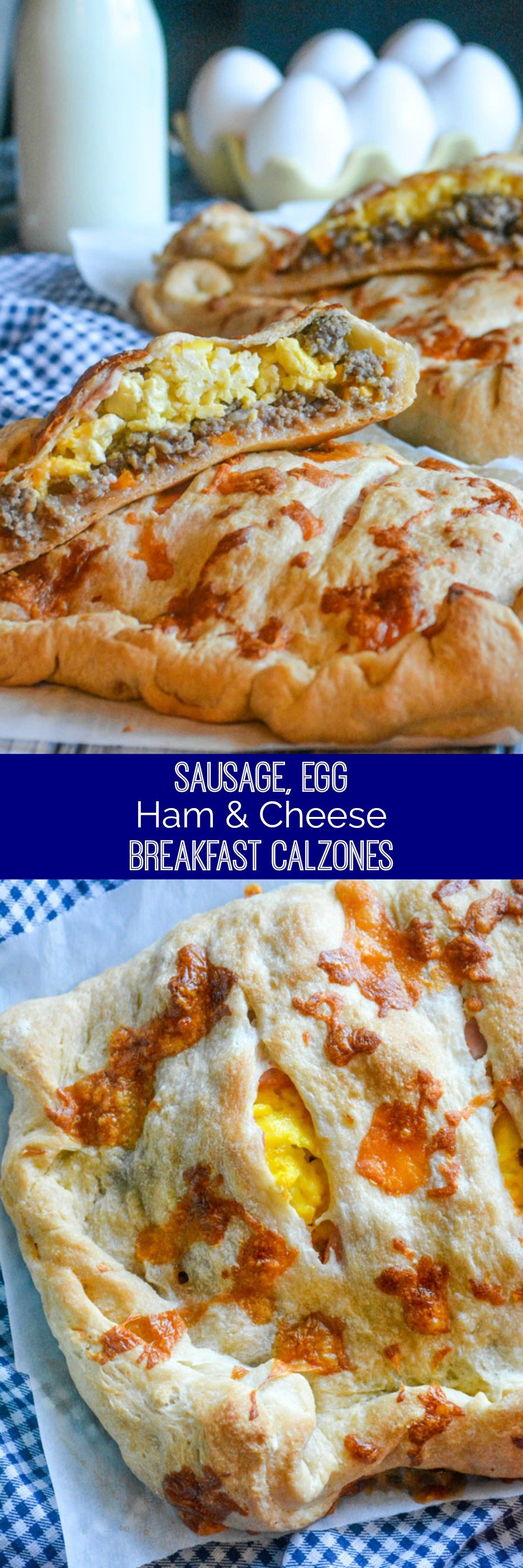 Breakfast, even brunch, can be hard- especially finding something everyone wants to eat. These easy Cheesy Sausage Ham & Egg Breakfast Calzones are the way to go!