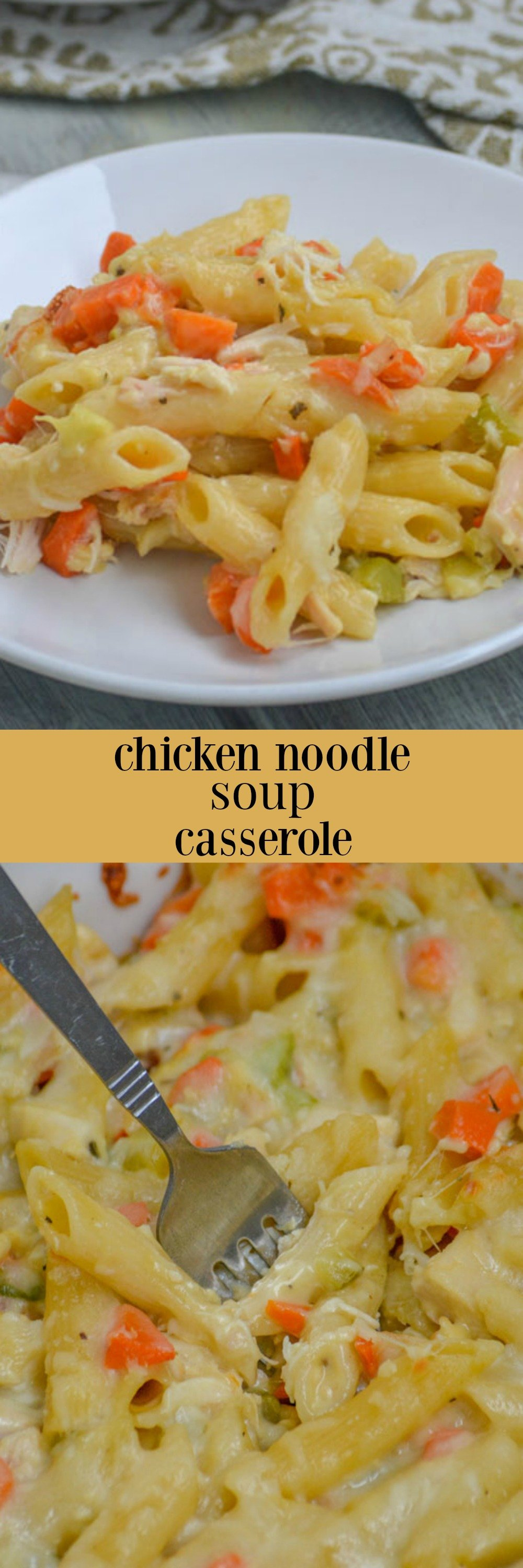 This creamy, cheesy Chicken Noodle Soup Casserole is the magical, home made (with love) cure for whatever ails you. Serve up a warm bowlful for lunch or dinner, and send your worries packin'!