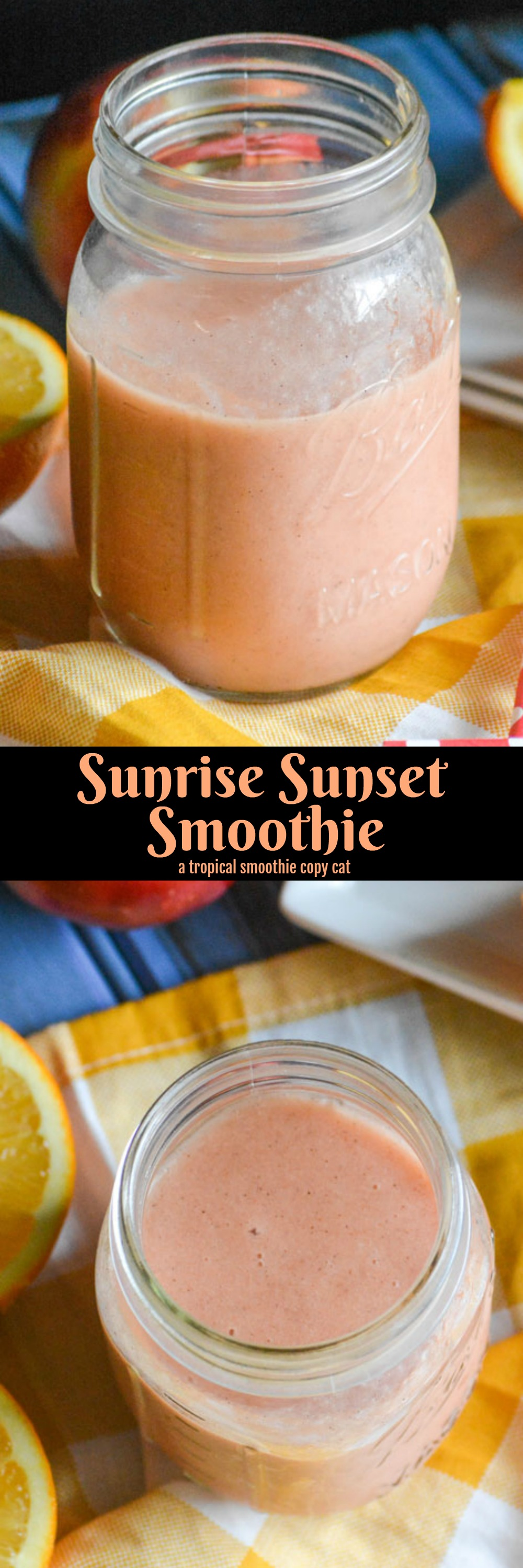 A quick and easy treat, featuring plenty of healthy fruit, this Copycat Tropical Smoothie Sunrise Sunset Smoothie is a spot on duplicate of your favorite cafe's frozen treat. An indulgent breakfast to share, a perfect dessert, even a special snack- this smoothie is what sweet memories are made of!