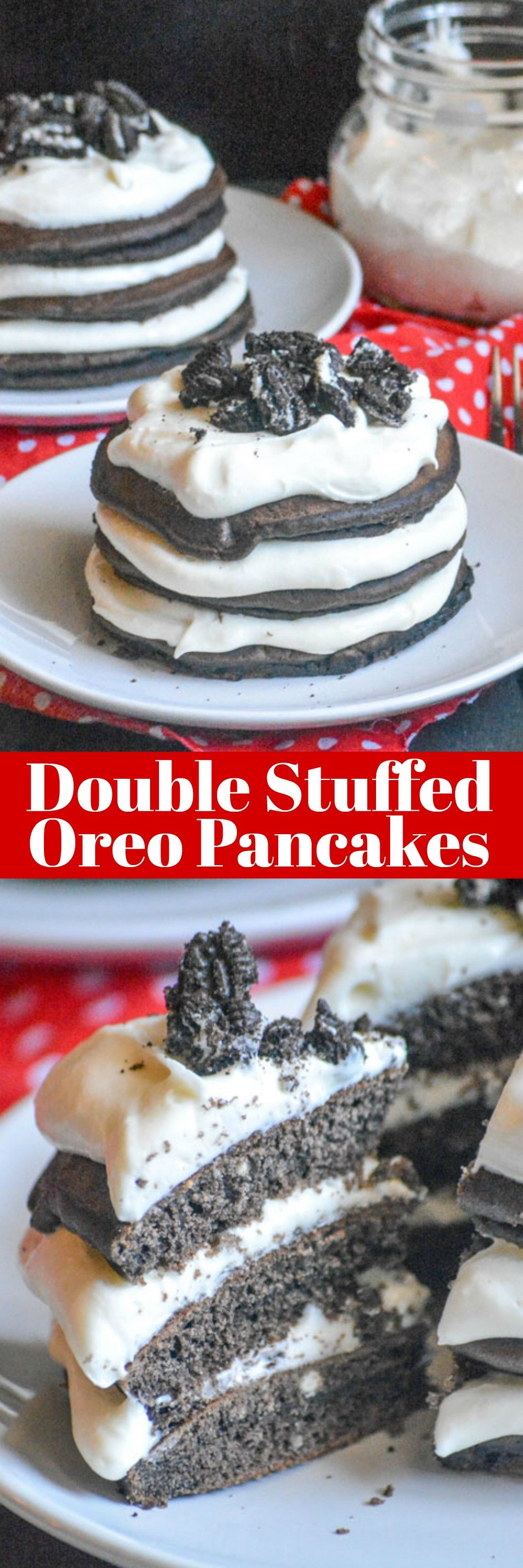 These delectable Double Stuffed Oreo Pancake Stacks are perfect for sharing, and for sharing a moment together. Luscious cream cheese based oreo filling is liberally spread between layers of chocolate oreo flavored fluffy pancakes.