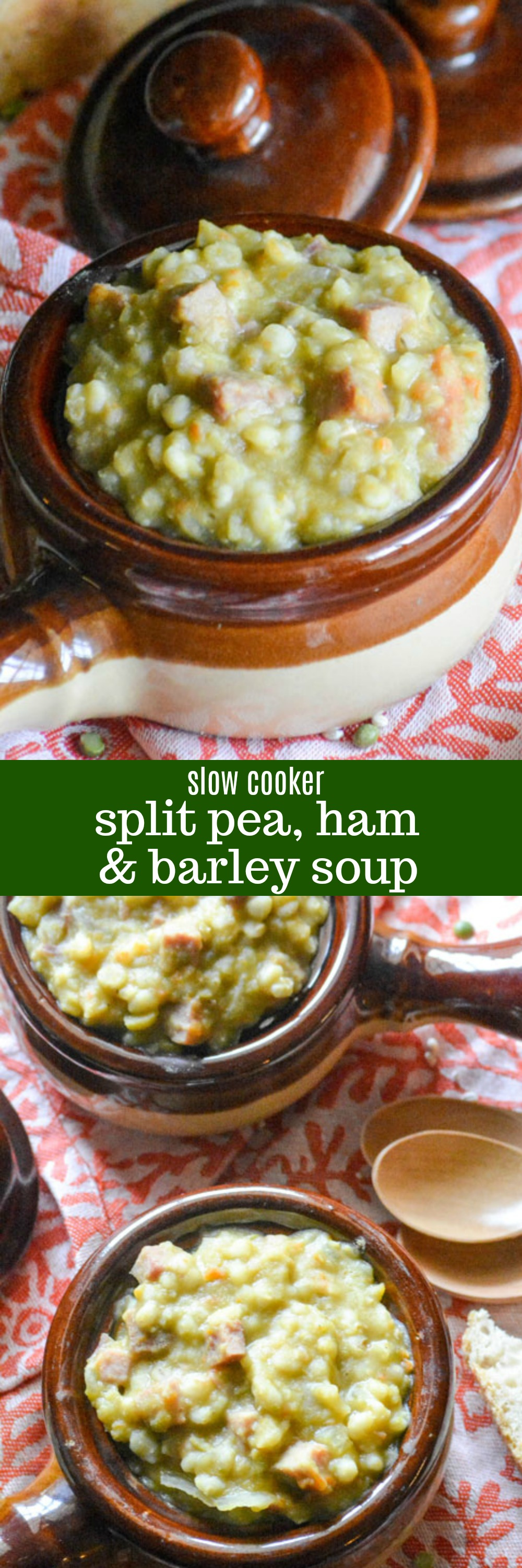 When the weather's cold, rainy, or gloomy- this quick & easy Slow Cooker Split Pea Ham & Barley Soup is just what the Doctor ordered for dinner. Loaded with hidden veggies, this healthy soup makes a hearty meal the whole family will fall in love with- even the kids!