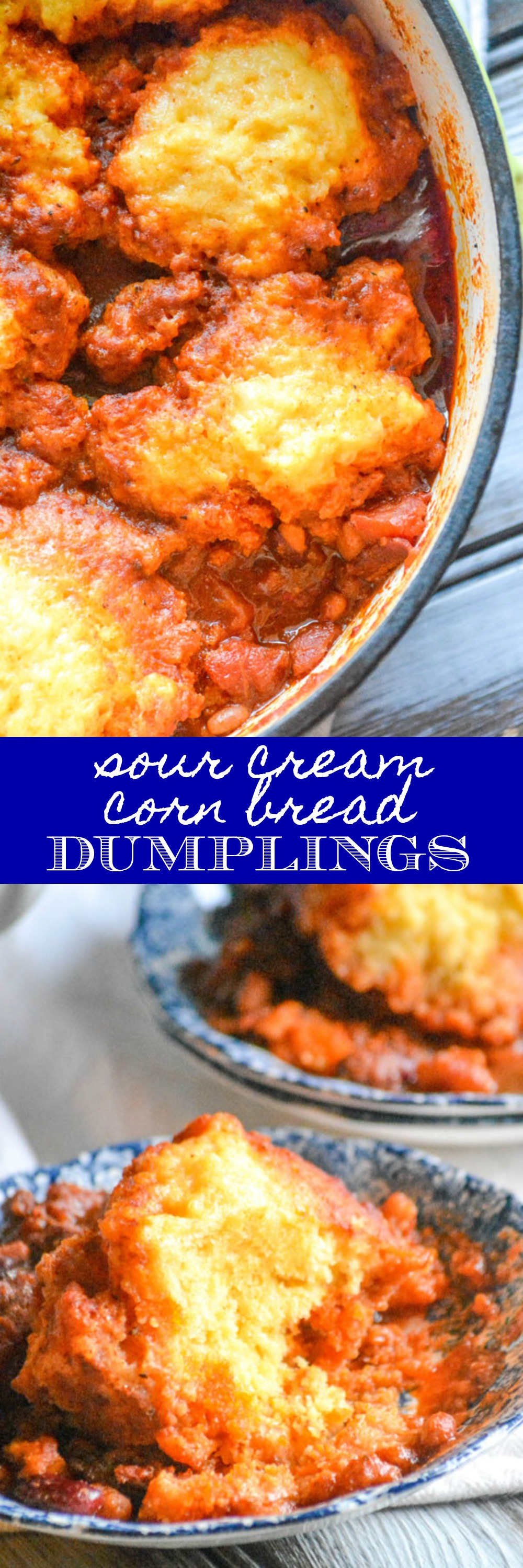 When the Winter weather comes callin', we go running straight for our biggest pot & our favorite batch of hearty chili. Obviously, no bowl of chili would be complete without a serving of cornbread. Skip the extra steps and combine the two with these yummy, savory Sour Cream Corn Bread Dumplings.