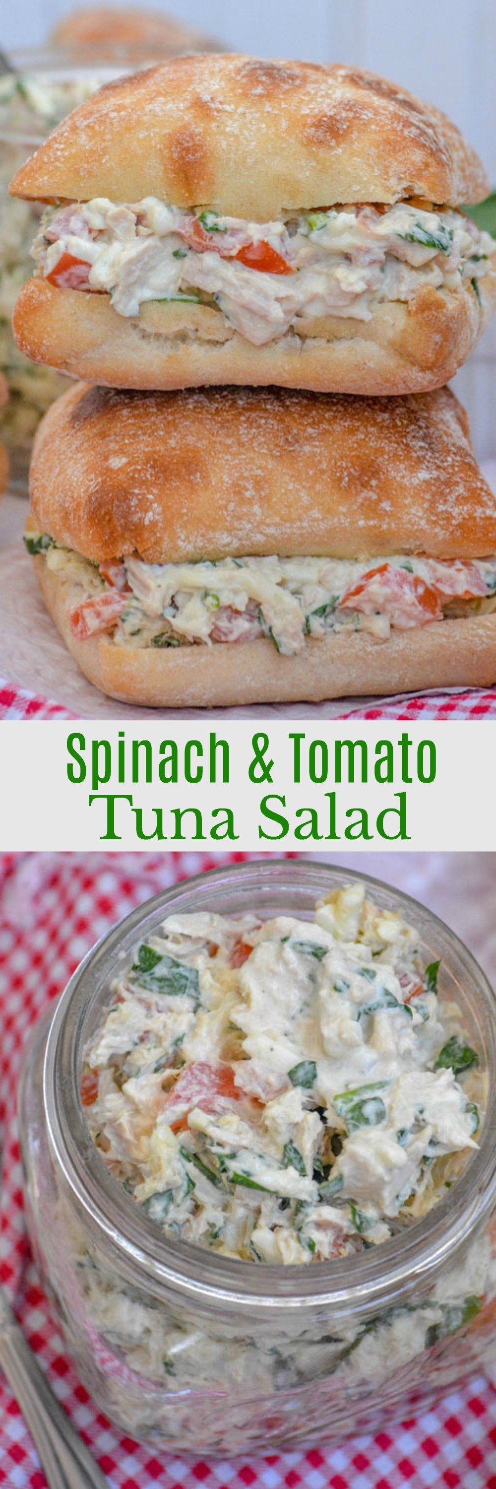Sometimes life is busy, busier even than I anticipate on my busiest day. Luckily, I've got these 10 minute, healthy Spinach & Tomato Tuna Salad Sandwiches on hand for lunch or dinner.