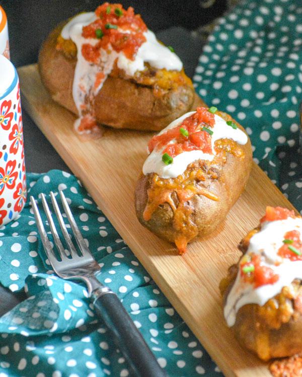 Twice Baked Tex Mex Taco Potatoes