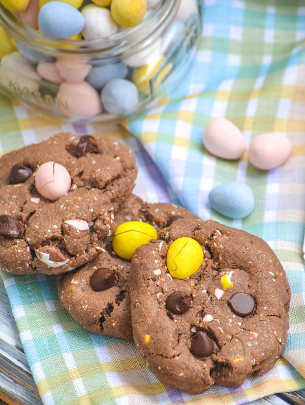 Chocolate Chocolate Chip Cadbury Egg Cookies