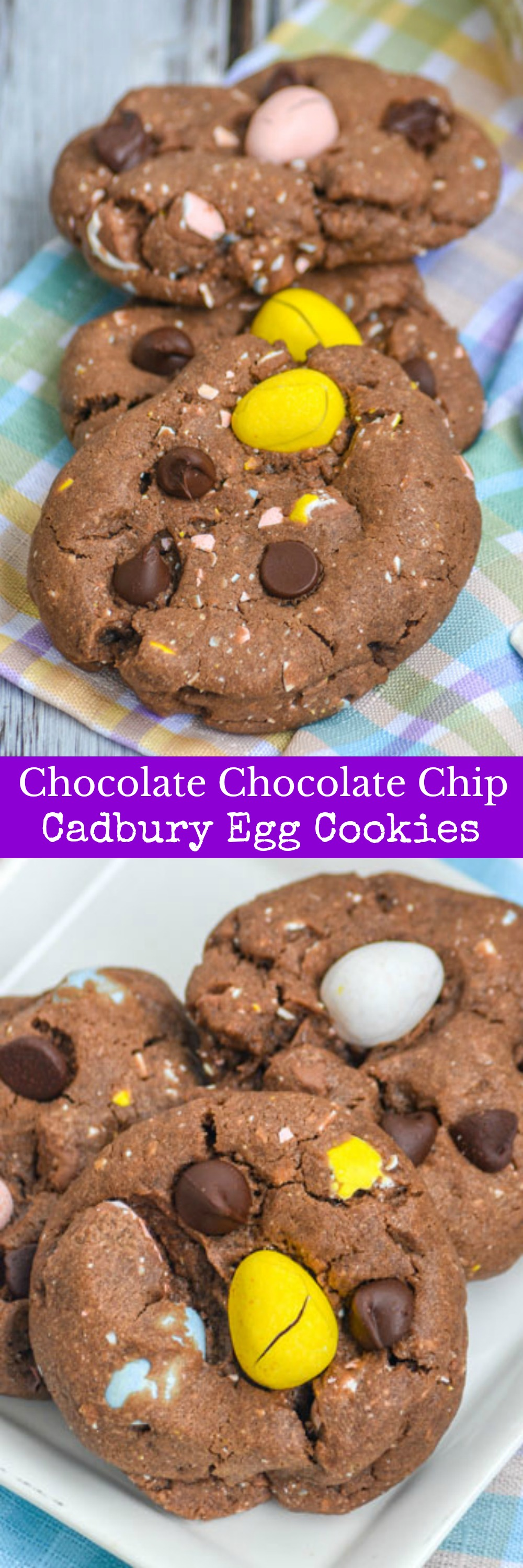 Chocolate Chocolate Chip Cadbury Egg Cookies are this Easter Bunny's favorite. Soft, fluffy, studded with chocolate chips & mini Cadbury eggs- these chocolate cookies are riddled with your favorite things. Load my basket up with a batch (or 2 or 3), and I'll happily hop along.
