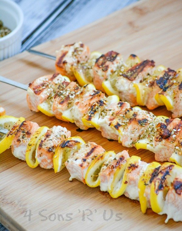 Grilled Herb Lemon Salmon Kebabs