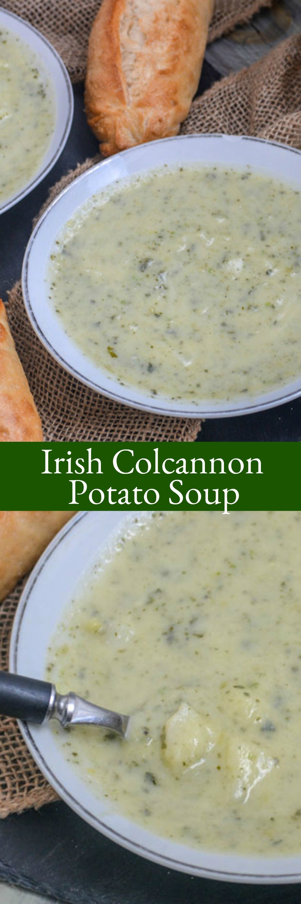 This creamy Irish Colcannon Potato Soup is perfect for Winter weather comfort food, and makes for a filling lunch or a hearty meatless dinner.
