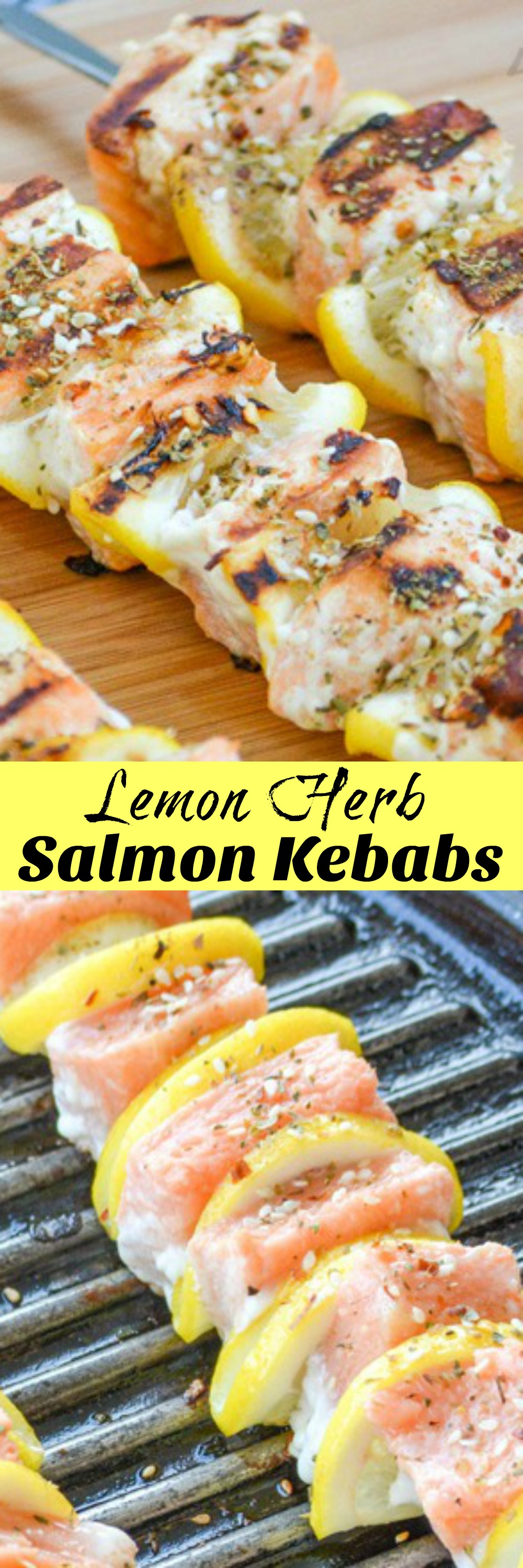 A healthy, powerhouse of a meal- these Grilled Herb Lemon Salmon Kebabs are full of refreshing flavor, but low on fat and calories. Easily prepared, and quickly cooked on the grill they're a budget-friendly crowd pleasing dinner that's perfect for warm Spring evenings and hot Summer days.