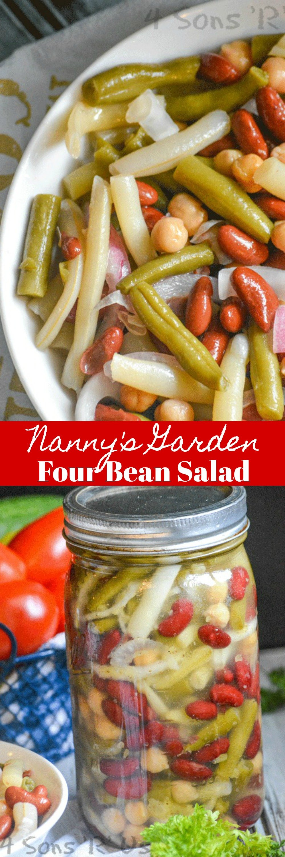 An easy recipe, this version of Nanny's Garden Four Bean Salad is the perfect healthy vegetable-laden dish to bring to Summer potlucks, barbecues, or any grilling parties.
