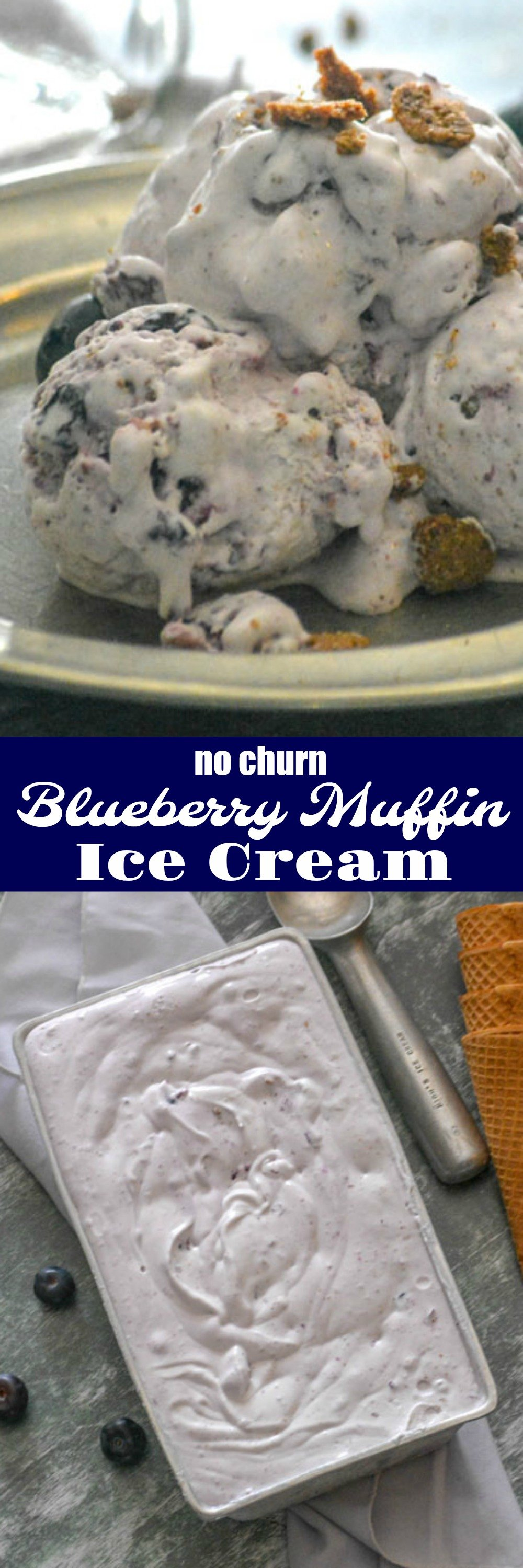 A quick & easy, rich & creamy dessert, this No Churn Blueberry Muffin Ice Cream features a fresh blueberry syrup swirl with a heavy sprinkling or homemade cinnamon streusel. It's a blueberry muffin in each bite (but better, because ice cream!), and the best way to enjoy breakfast for dessert.