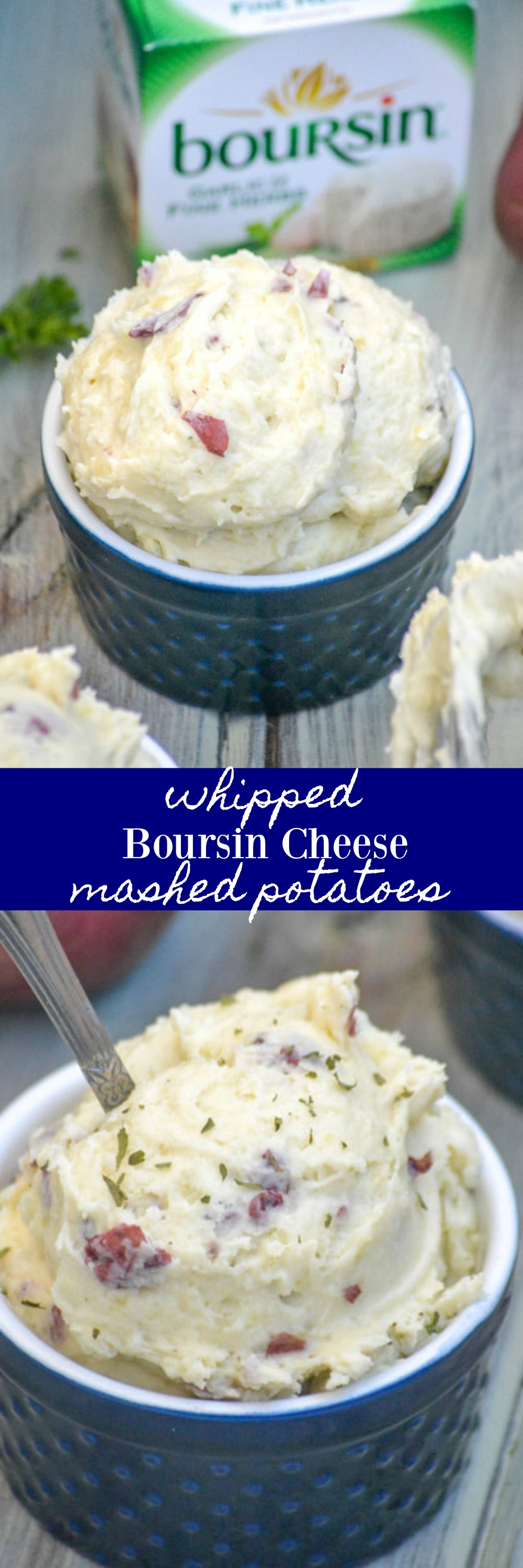 If you thought you loved mashed potatoes before, give these Whipped Boursin Cheese Mashed Red Potatoes a try and be prepared to fall into a whole new level of love with the classic side dish. These are pure comfort food, perfect for dinner when served with virtually any meaty entree.