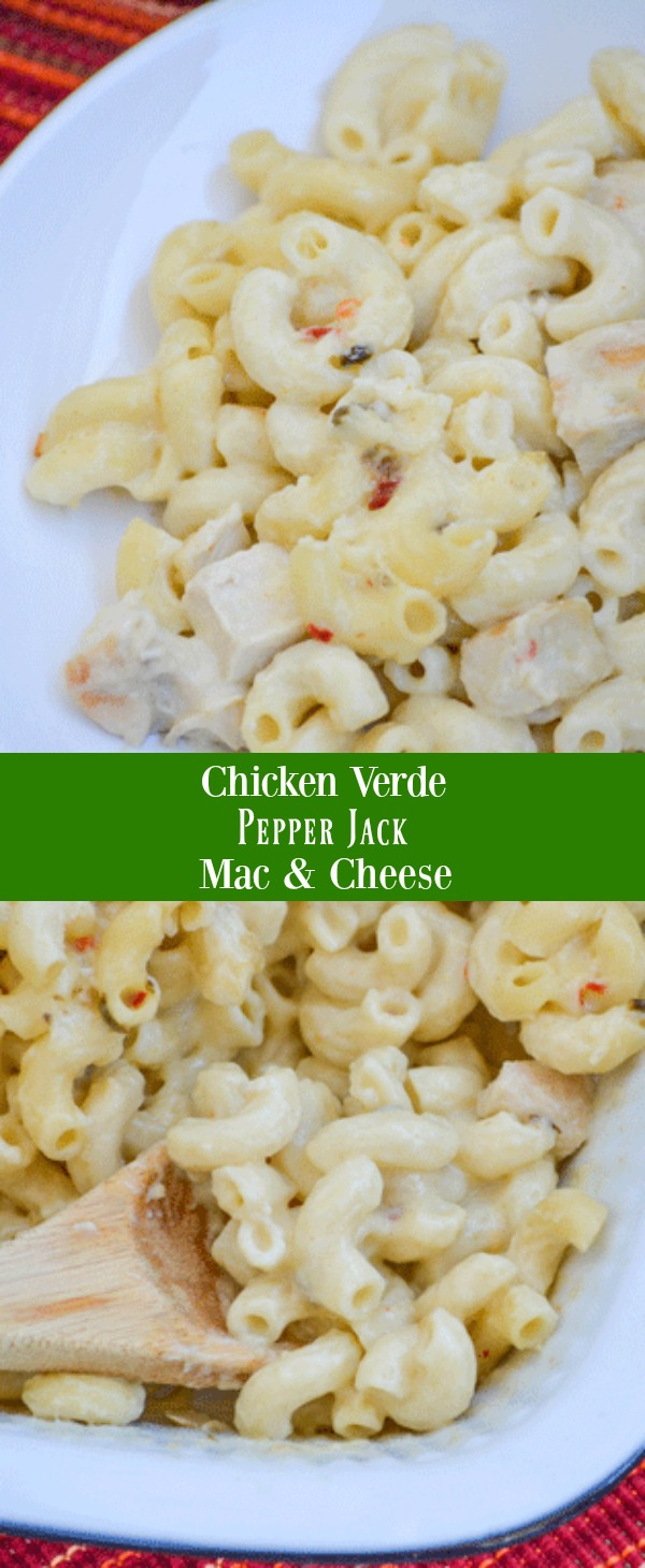 A rich and creamy casserole, this Chicken Verde Pepper Jack Mac & Cheese is cheesy Tex Mex heaven. It delivers the same flavors you love in chicken verde enchiladas but with only 6 ingredients, and half the work- making it a must-have family favorite, 30 minute meal.