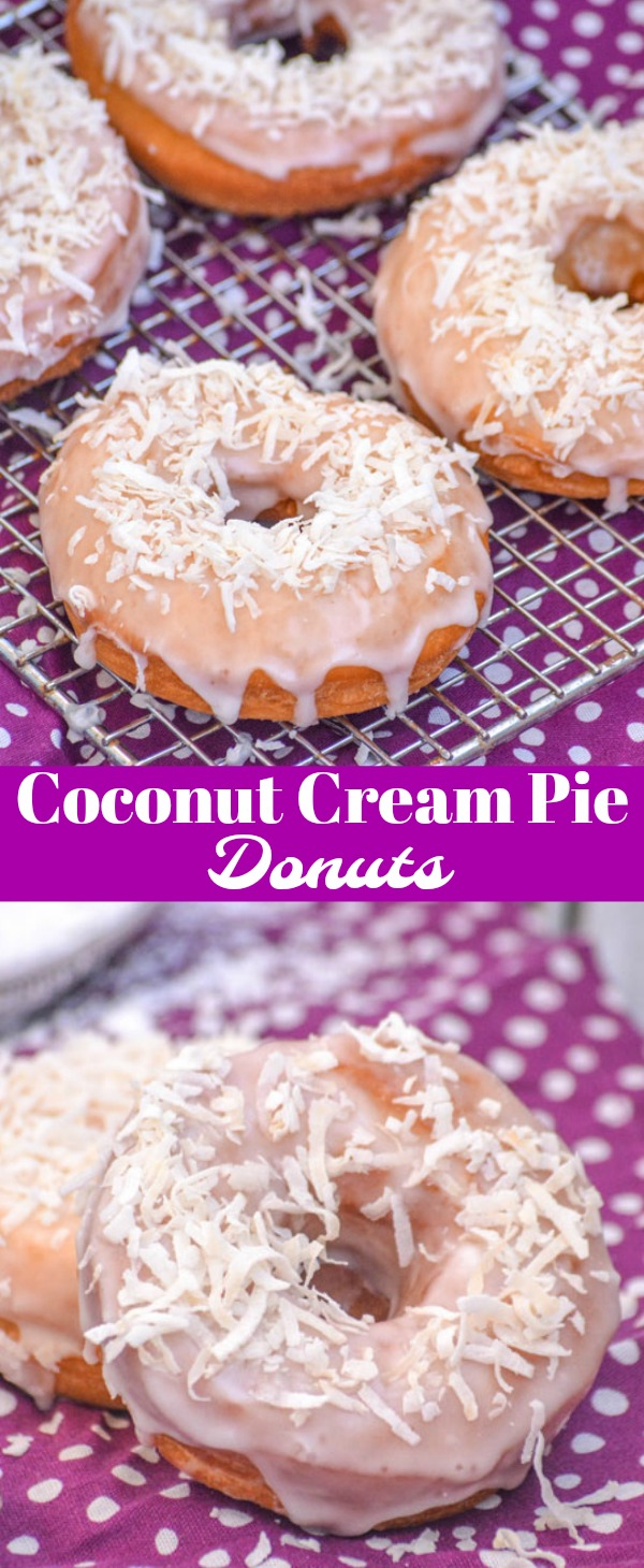 A solid donut recipe, these Coconut Cream Pie Donuts are the whole kit & kaboodle in breakfast and brunch form. Sweet & a tad savory, this recipe combines the flavors you love in your favorite dessert in yummy donut form with a creamy glaze and shredded coconut topping.