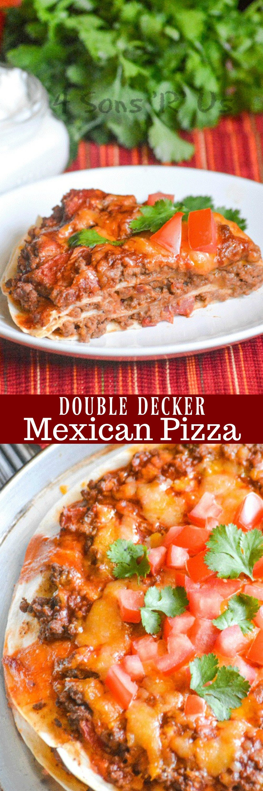 This Meaty Double Decker Mexican Pizza has everything you love about a traditional Mexican pizza from Taco Bell, but we've transformed it into a family meal. Layers of hearty seasoned ground beef & beans, cheeses, a layer of red enchilada sauce and chopped tomatoes and cilantro leaves makes it a perfect dinner to satisfy any craving.