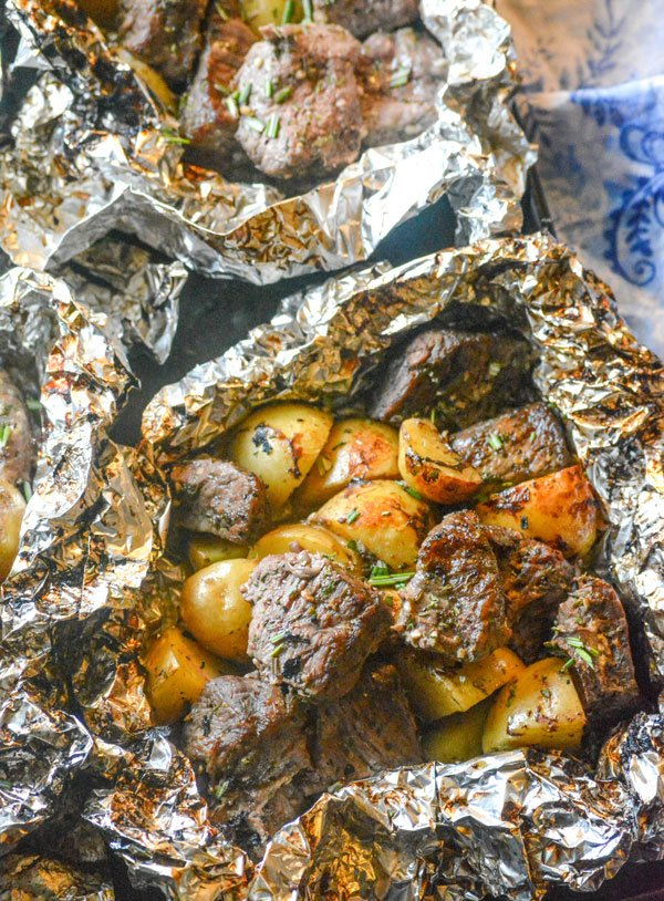 Grilled Butter Garlic Steak & Potato Foil Pack Dinner