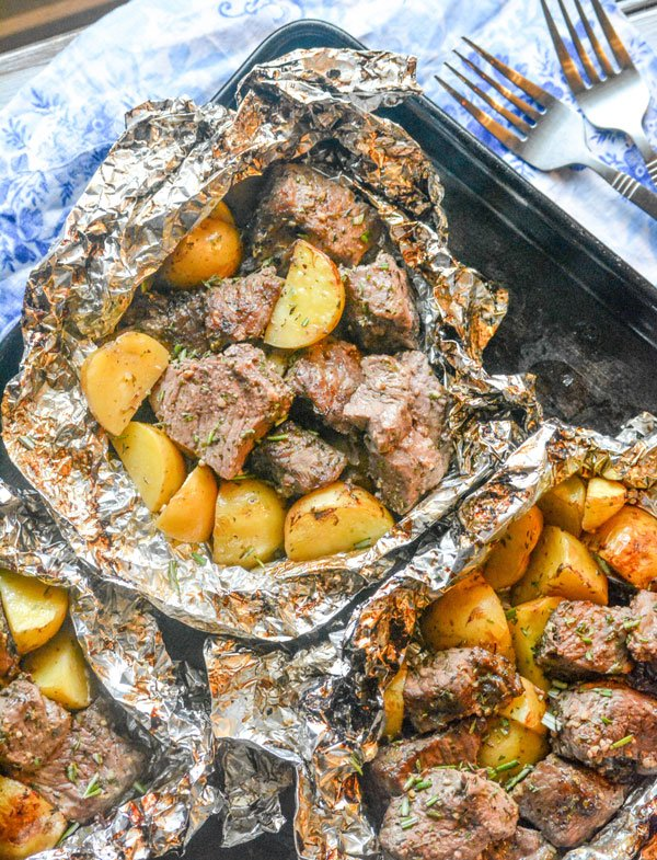 Grilled Butter Garlic Steak Potato Foil Pack Dinner 4 Sons R Us
