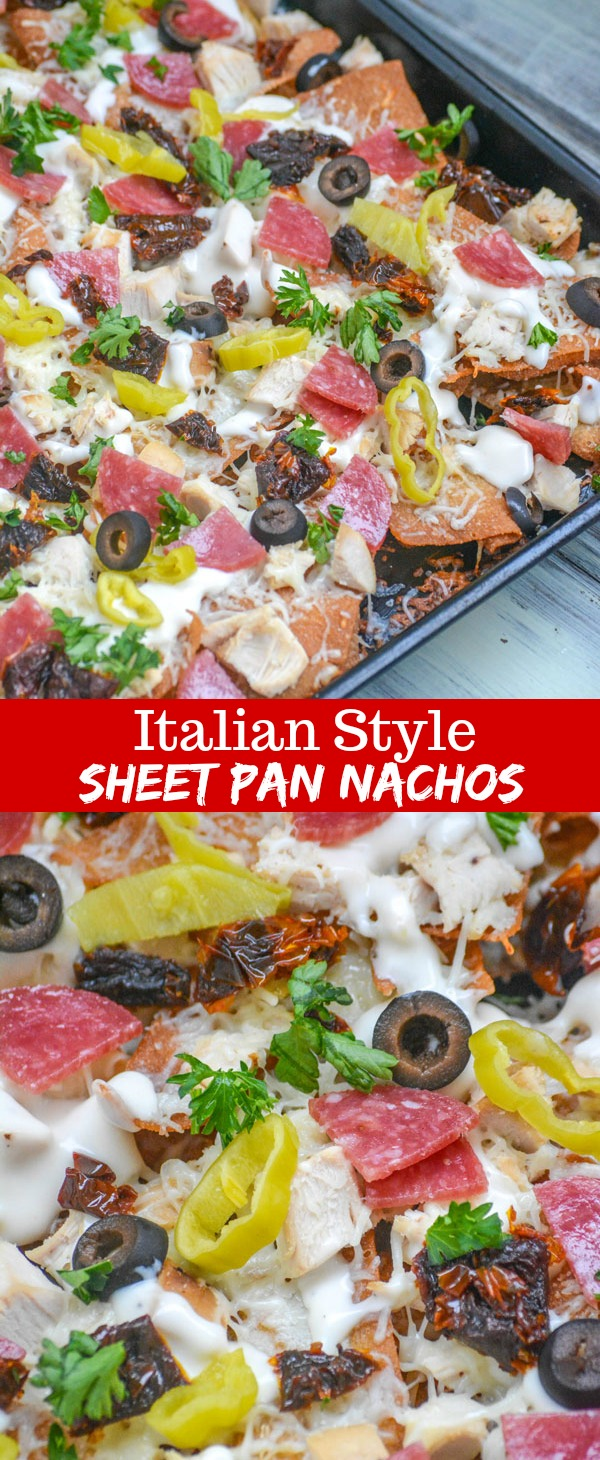 These yummy Loaded Italian-Style Chicken Sheet Pan Nachos combine all of your Italian flavor favorites. Rotisserie chicken, mozzarella cheese, sliced black olives, sun dried tomatoes, pepperoncinis, pepperoni, green onions, and parsley- all lovingly bound together with a generous alfredo sauce base.