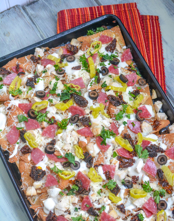 Loaded Italian-Style Chicken Sheet Pan Nachos
