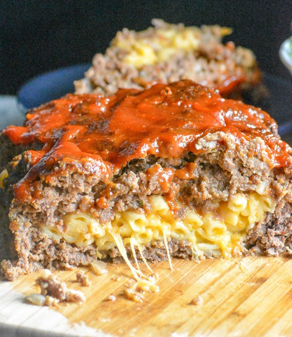 Mac & Cheese Stuffed Honey Barbecue Meatloaf