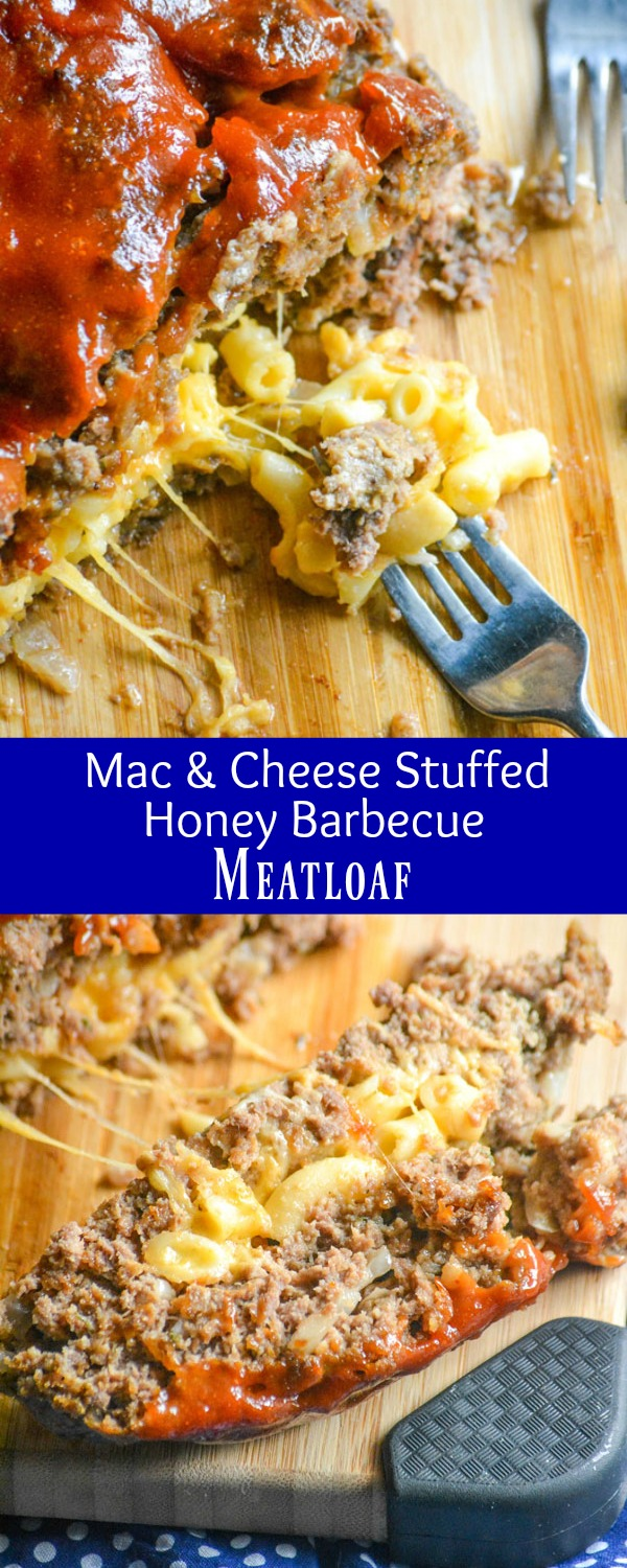 A solid meatloaf is often the cure for anything that ails you, especially since they're a quick & easy dinner, even on a budget. This one is stuffed with a rich, creamy macaroni & cheese, and topped with a slightly sweet & savory sauce. This Mac & Cheese Stuffed Honey Barbecue Meatloaf is ready in an hour, and the answer to any and all dinner dilemmas where comfort food is a must.