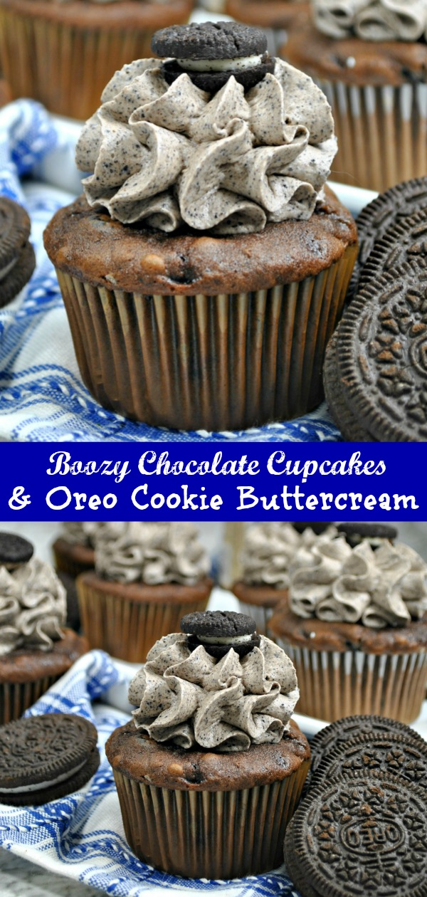 A good cupcake recipe is a must have. Kick the box mix to the curb, and make an adult version of the favorite dessert with these Boozy Chocolate Coffee Cupcakes with Oreo Cookie Buttercream. Chocolate, vanilla liqueur & coffee infused cupcakes are topped with an Oreo cookie and cream butter cream frosting. It's the perfect adult flavored dessert.