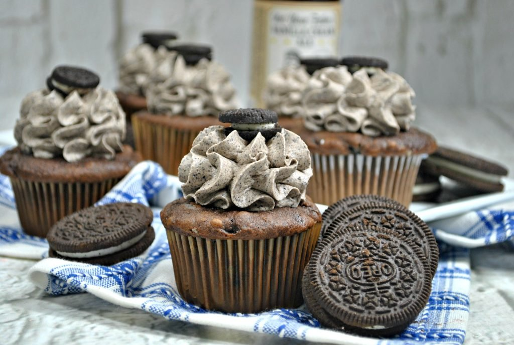 Boozy Chocolate Coffee Cupcakes with Oreo Cookie Buttercream