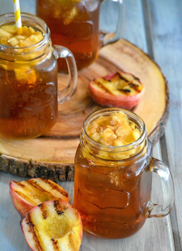 Grilled Peach Infused Sweet Iced Tea