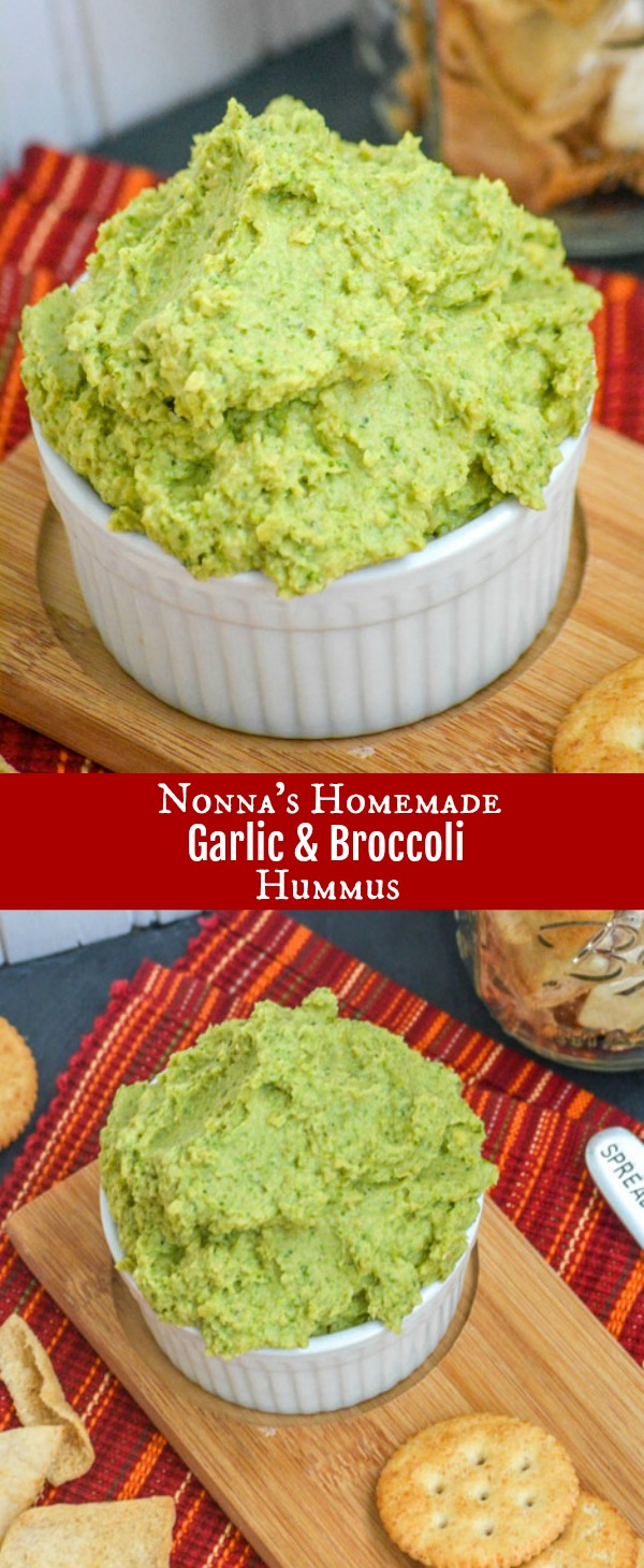 Making your favorite snack is easier than you think. Sneaking a generous helping of healthy greens into this protein packed snack, this Homemade Broccoli Hummus Dip is seasoned with garlic and several others for a perfect blend of rich, creamy, dippable goodness.  #nonna #homemade #garlic #broccoli #hummus #dip #healthy #snack