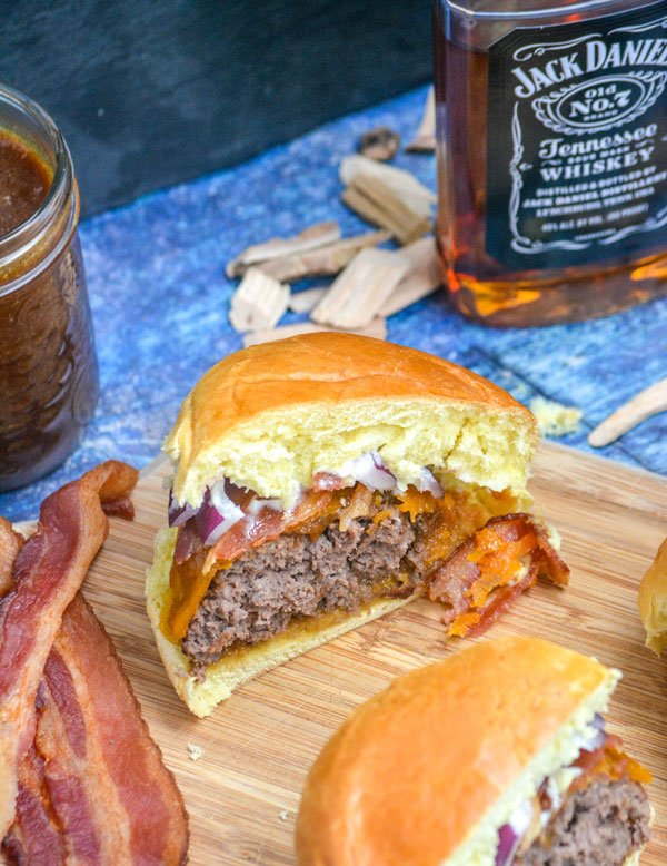 Smoked Cheeseburgers with Jack Daniels Barbecue Sauce