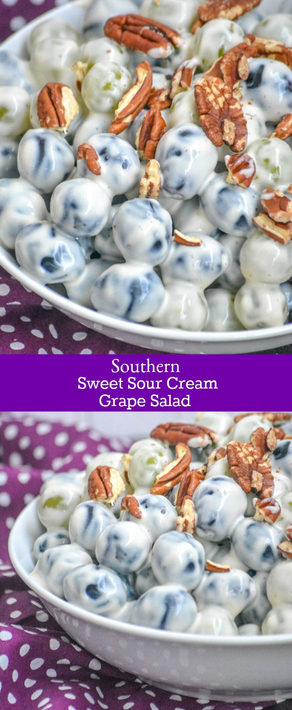 A delicious blend of Southern flavors, this Sweet Southern Sour Cream Grape Salad is the best fruit salad recipe around. Tangy, sweet and with a secret ingredient- it's Grandma's sacred recipe- made to be shared at any family function & loved by all.